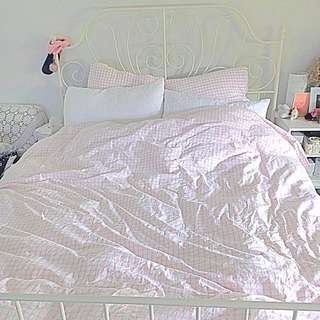 Light pink grid cotton quilt cover set double