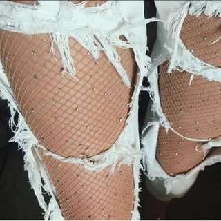 Sparkle nude fishnet stockings