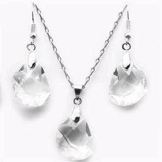 Women white crystal silver pendant necklace earrings set