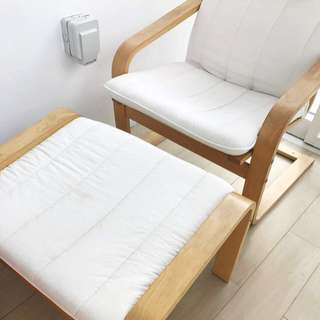 Ikea arm chair with foot rest