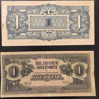 Japanese-Malaya 1 Dollar Old Notes 5pcs