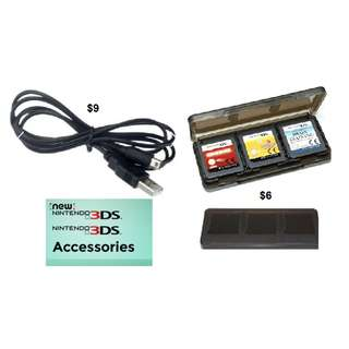 6 in 1 Game Card Holder Case / Charging Cable Cord USB  for Nintendo 3DS