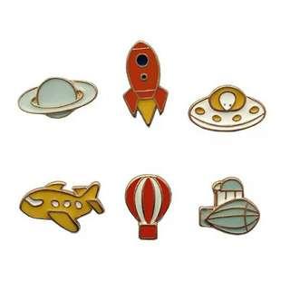 [BUY 3 FREE 1] Spaceship enamel pin badge brooch tumblr