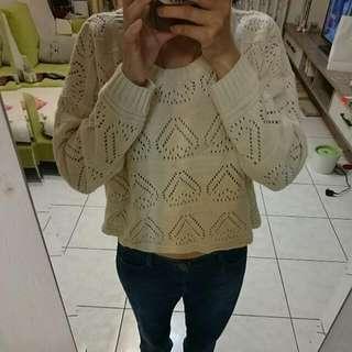 🚚 秋降價//寬擺鏤空短版針織毛衣