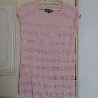 《BUFFALO》粉色銀水鑽橫條紋彈性圓領無袖上衣
