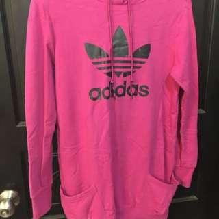 Adidas桃紅色長版帽t