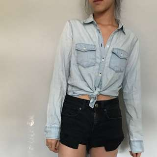 Light Washed Denim Button Down Shirt