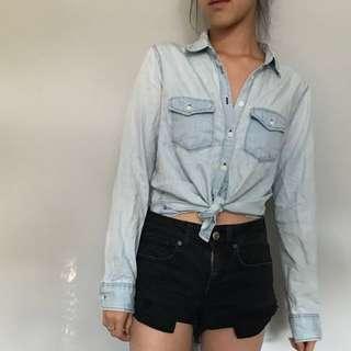 Light Washed Denim Button Down Shirt