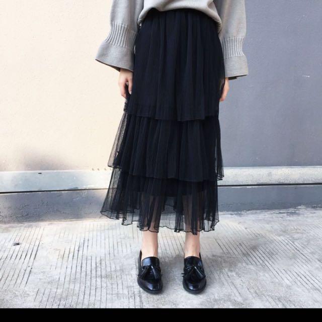 黑色蛋糕紗裙