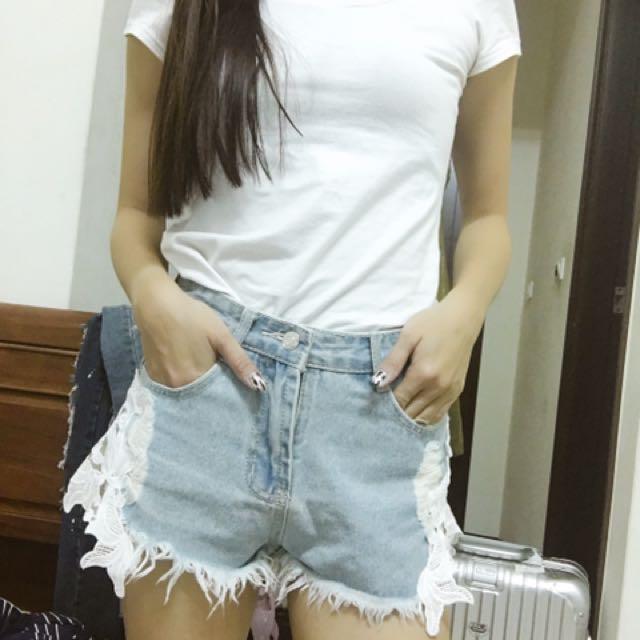 提花牛仔短褲淺色