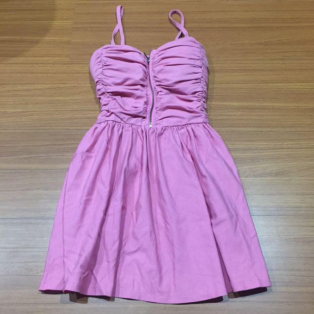 細肩帶胸墊洋裝「粉紅色」