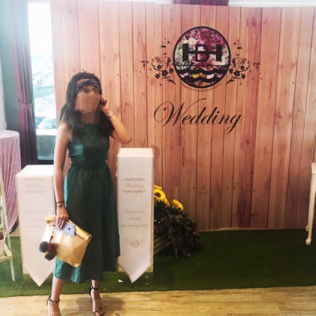 綠色連身裙/婚禮洋裝/亞麻材質
