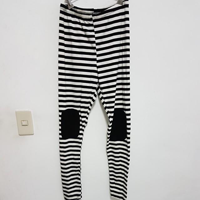條紋休閒內搭褲#長褲特賣