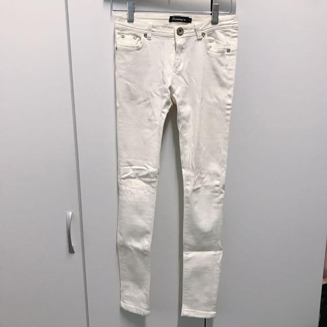 白色彈性丹寧褲