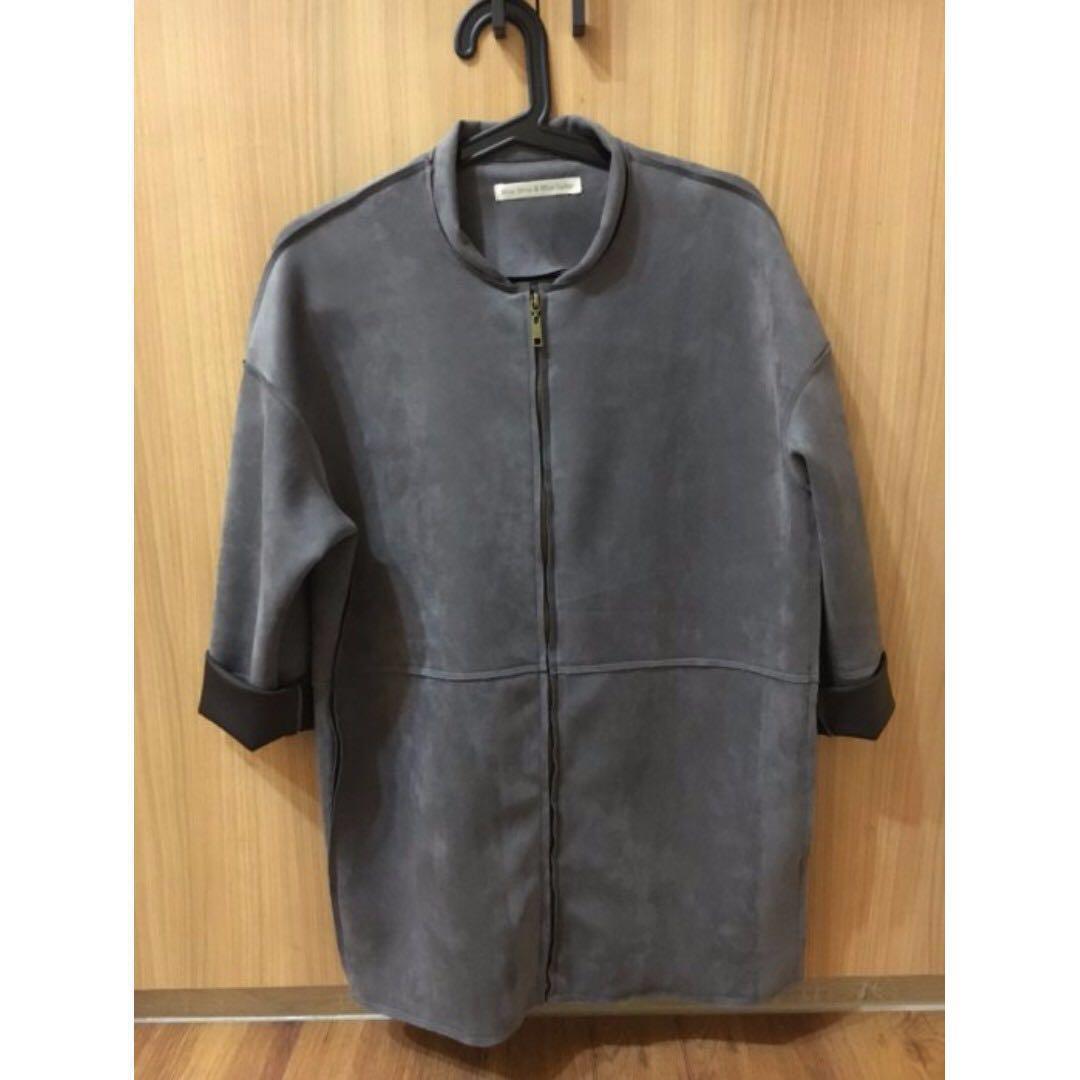 正韓 長版外套 (灰色)