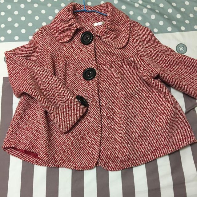 紅色格紋 傘狀 毛呢 保暖 外套