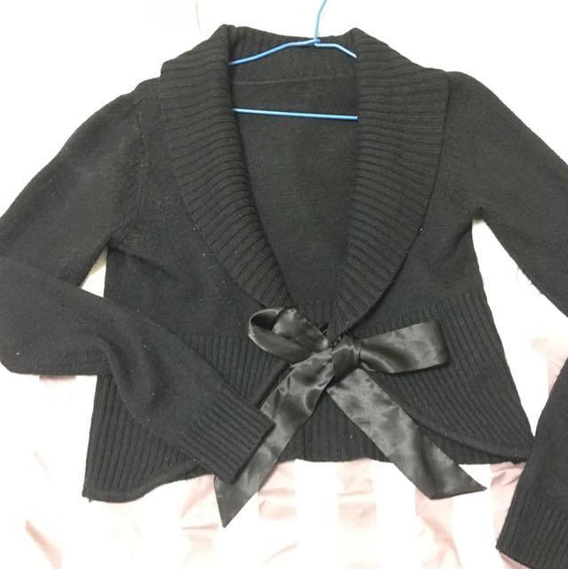 黑色 大翻領 短版 綁帶 針織 毛衣罩衫 外套