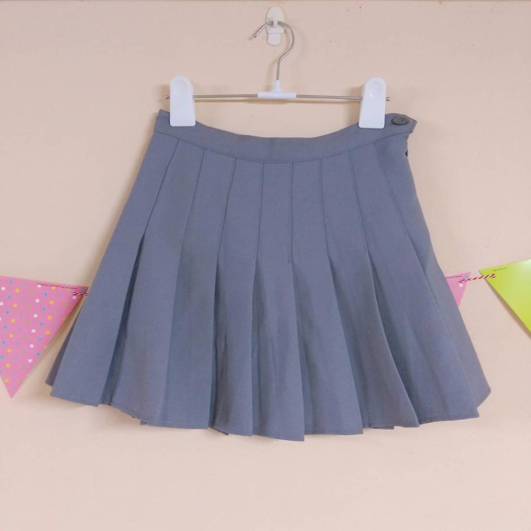 灰色百褶裙A字裙短裙