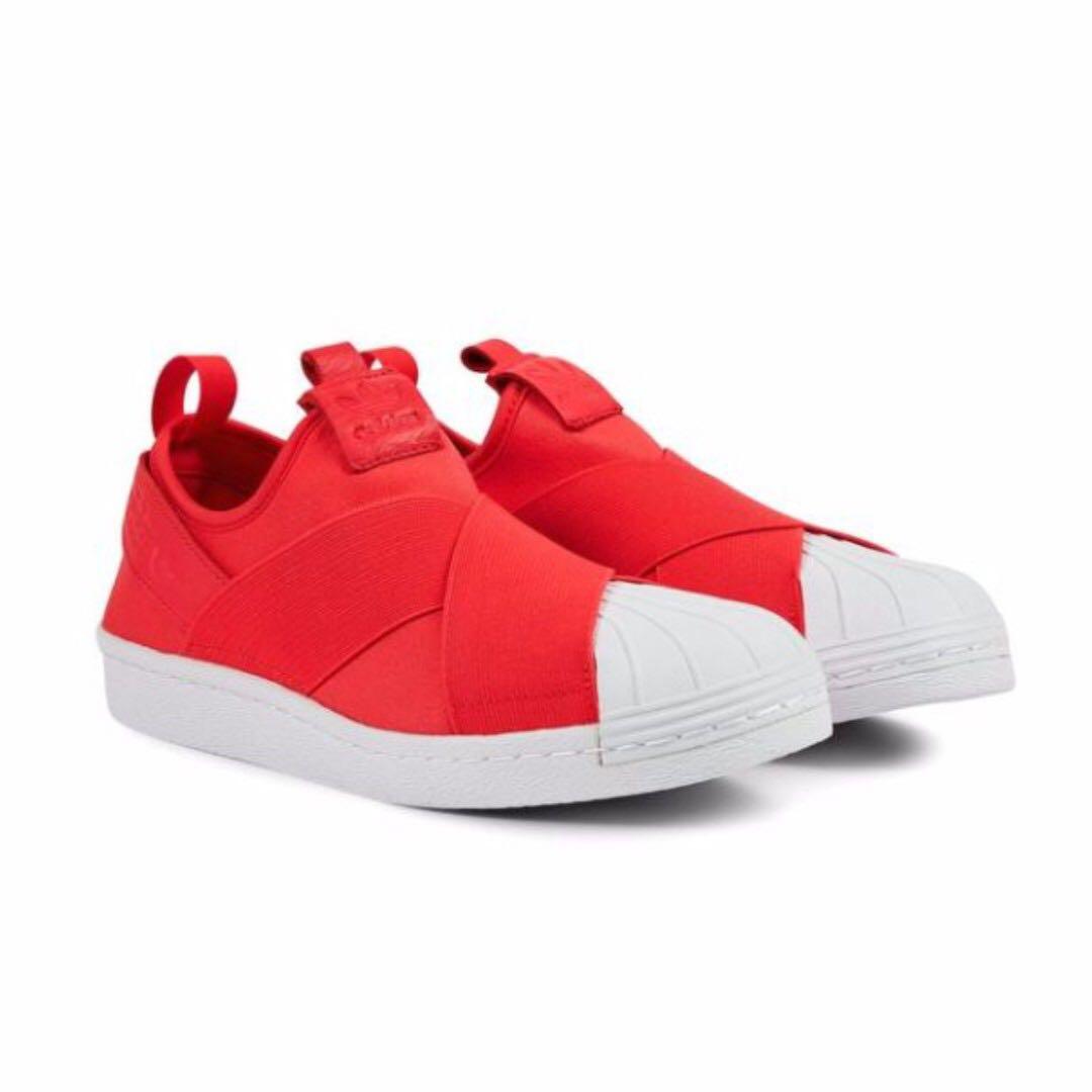 red adidas superstar slip on