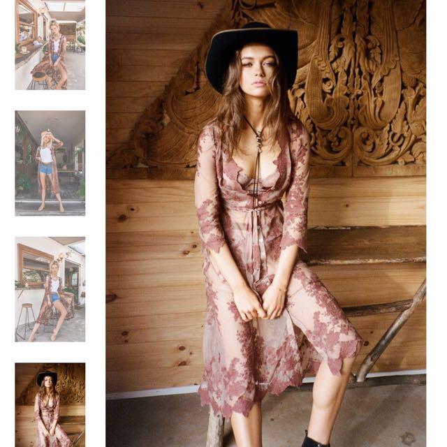 ARNHEM Vintage Lace Kimono Duster Jacket Dress