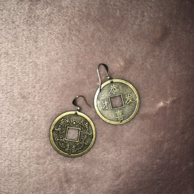 Asian token earrings