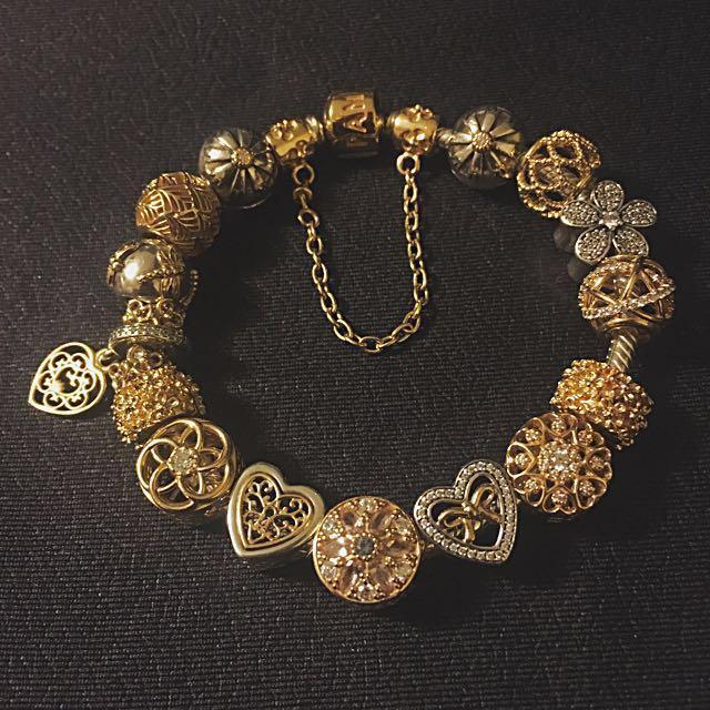 Authentic Gold Pandora Bracelet!  Two-Tone NEW