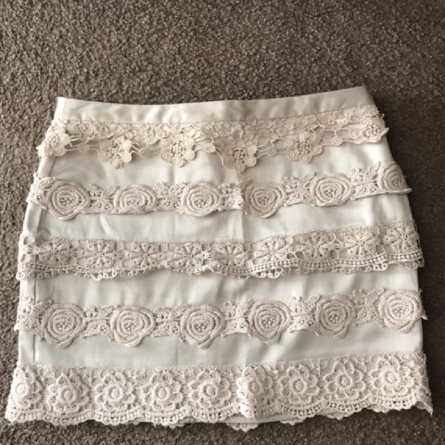 Beige Silk Skirt