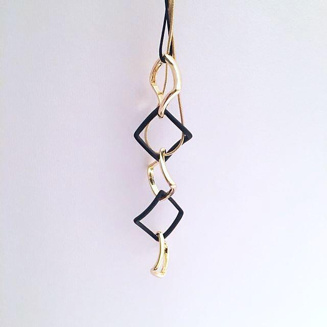 Black + Gold Long Twirl Necklace