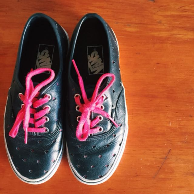 Black and red leather heart Vans