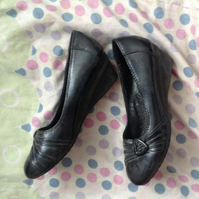 Black School Shoes Wedge