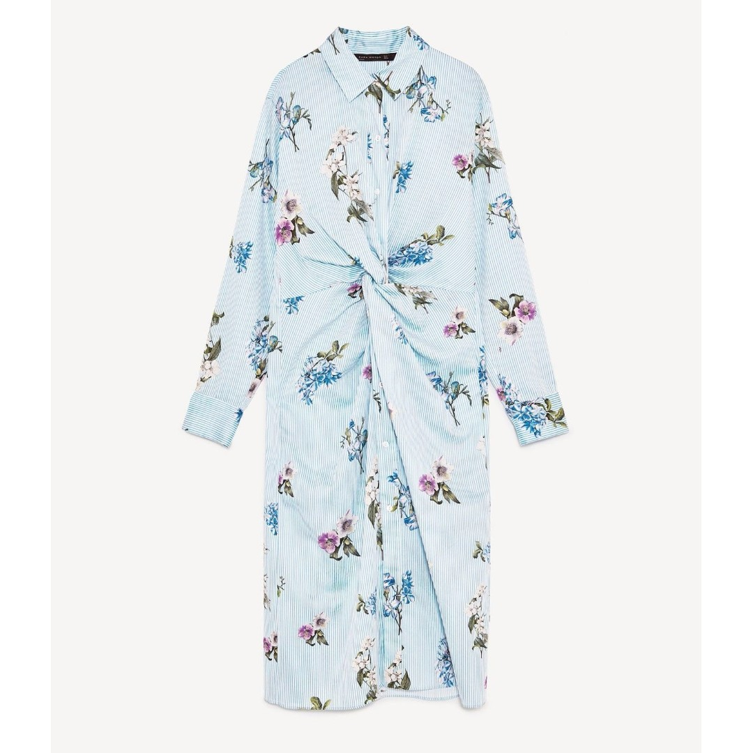 BNWOT Zara Dupe Floral Knotted Shirt Dress