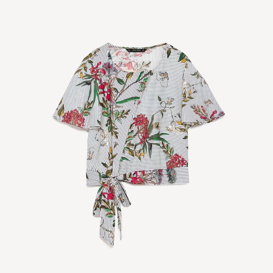 BNWOT Zara Dupe Floral Tie Blouse