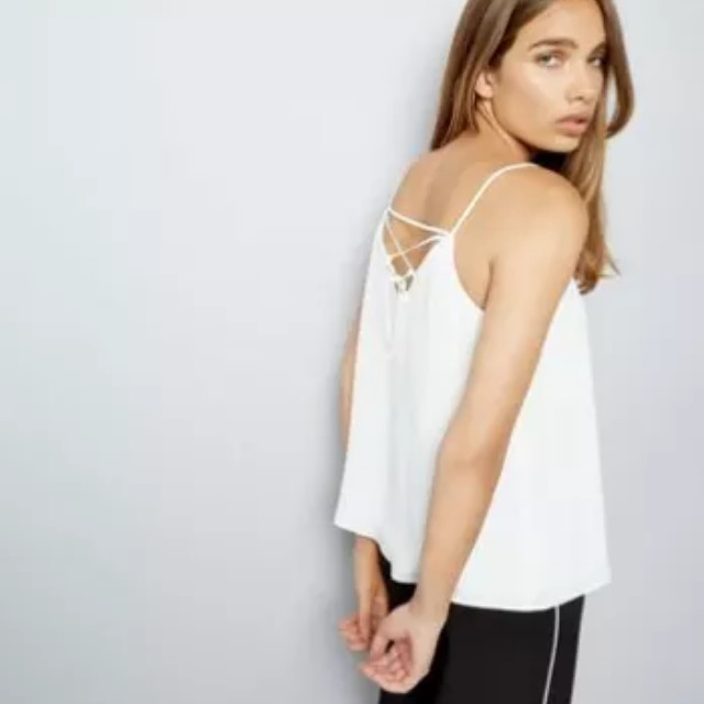 BNWT New Look Lace Up Back Cami (White)