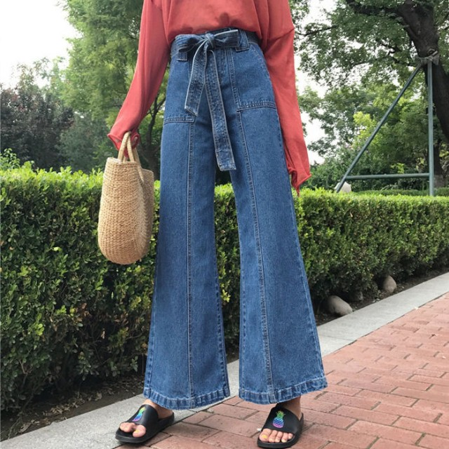 Bow wide leg jeans