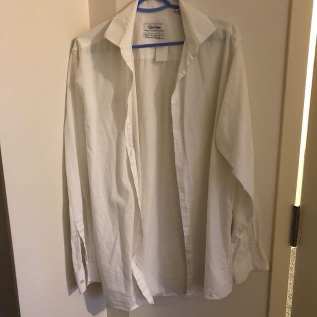 calvin klein men's button down white shirt