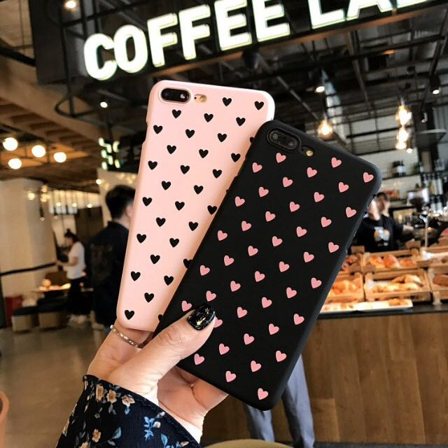 Cute pink and black with hearts case