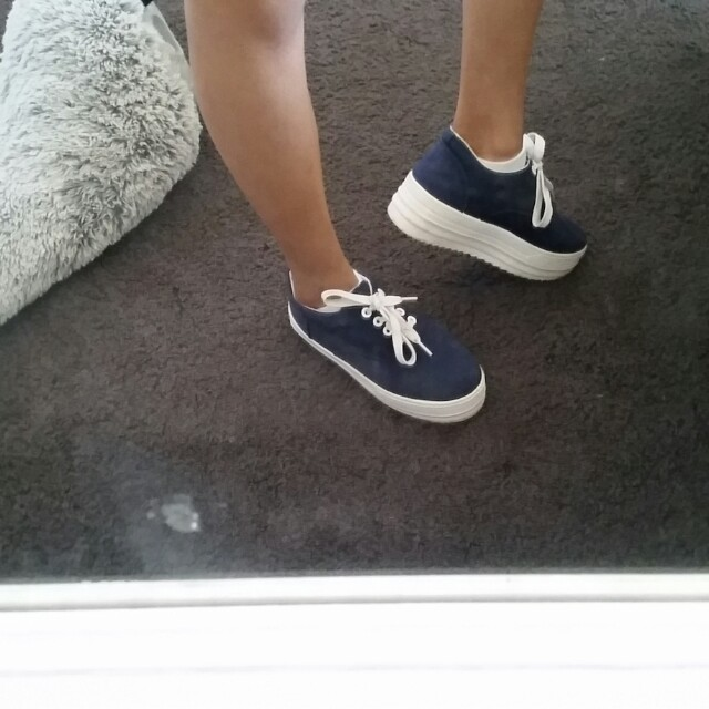 Dark blue platform shoes
