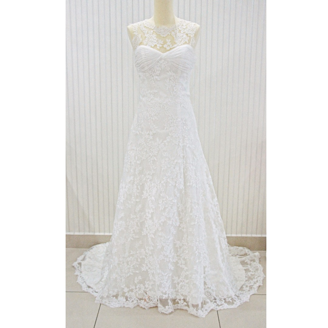 Elegant A Line Lace Wedding Gown Bridal Dress Clearance Sale Women S Fashion Clothes Dresses Skirts On Carousell