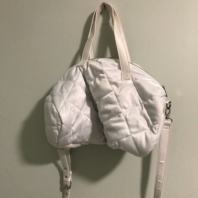 Forever 21 White puffy Satin gym bag