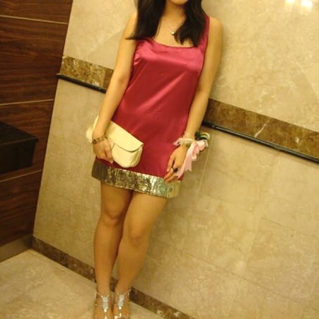 FREE POSTAGE Hot Satin Fuchsia Pink Party Dress