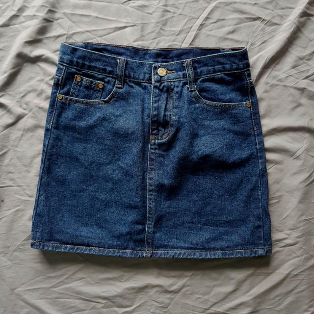 #FreePostage Blue Denim Skirt A Line Skater Skirt