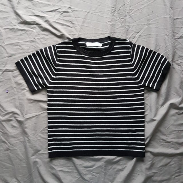 #FreePostage High Quality Knit Stripes Crop Top