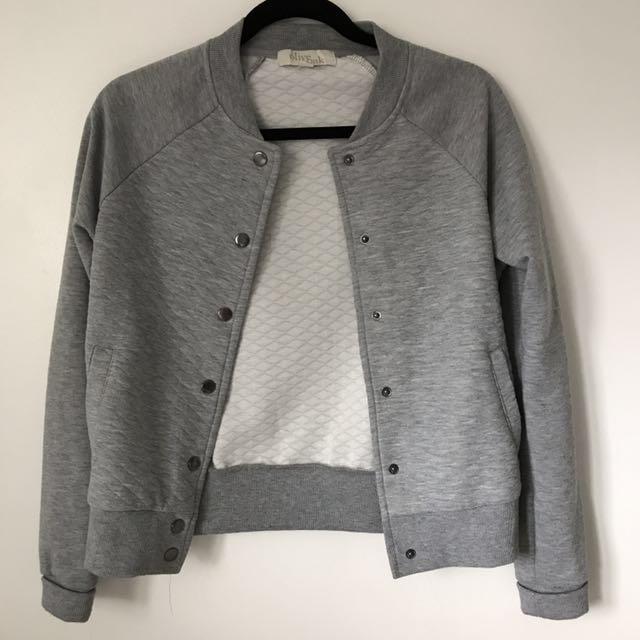 Grey Varsity Style Sweater