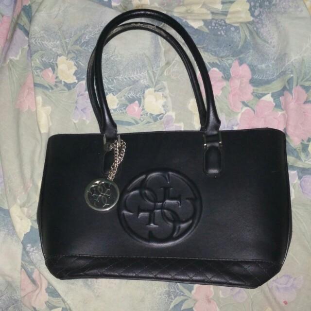 Guess original black handbag with Golden Guess bag charm