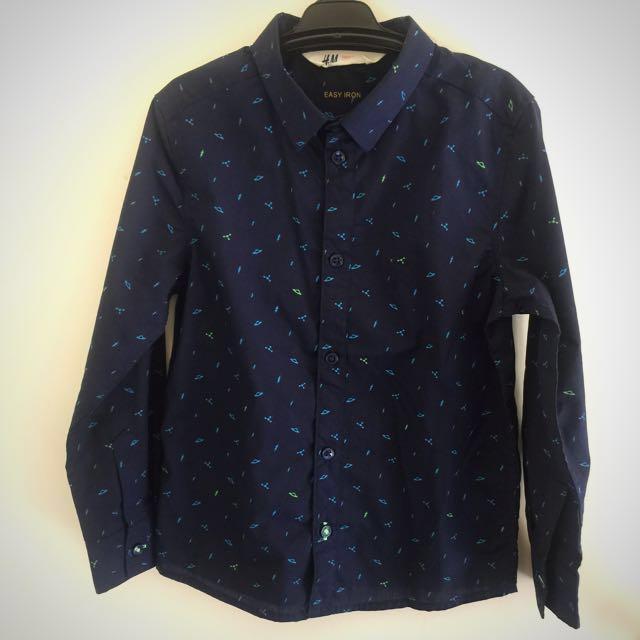 H & M Boys Button Up Shirt Size 6-7