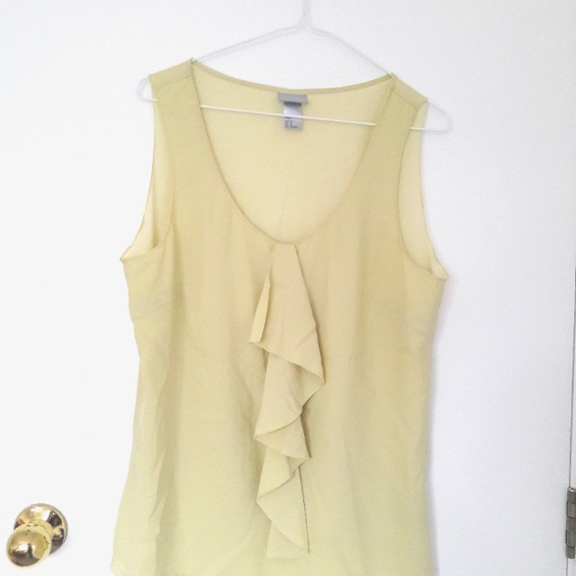 H&M yellow mesh top