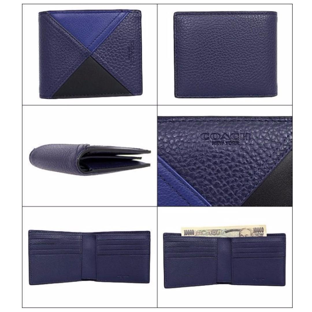 43c57483c0328 Coach Men s 3-IN-1 Wallet In Patchwork Leather (F56599) Indigo ...