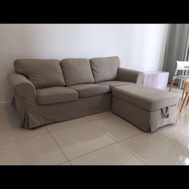 Ikea Loffalet Beige Ektorp 3 Seater Sofa A Footstool With An Extra