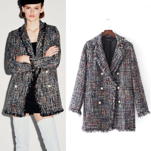 a9a97ce9 Inspired Zara Tweed Jacket With Faux pearl Lapel Collar frayed edges,  Luxury, Apparel on Carousell