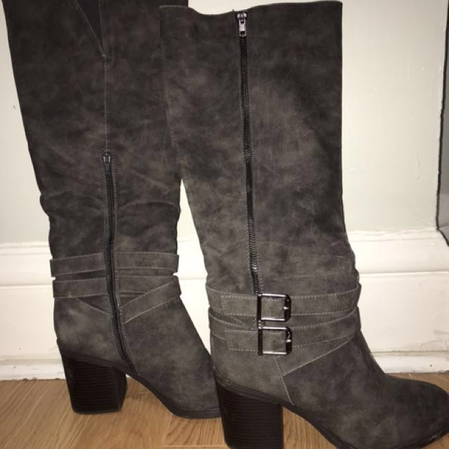 Just Fab Suede Grey/Blue Long Boots with Zipper and Buckles
